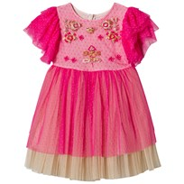 Billieblush Fuchsia and Gold Embroidered Tulle Party Dress 487