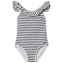 Chloé One-Piece Striped Ruffle Branded Swimsuit 848