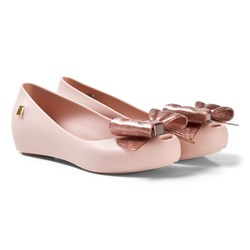 Mini Melissa Pink Ultragirl Shoes with Glitter Bow