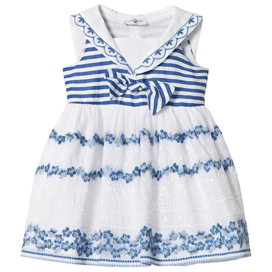 Monnalisa Whte and Blue Embroidered and Broderie Anglaise Floral Sailor Dress 9954