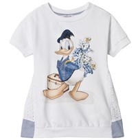 Monnalisa White Donald Duck and Broderie Anglaise Dress 9954