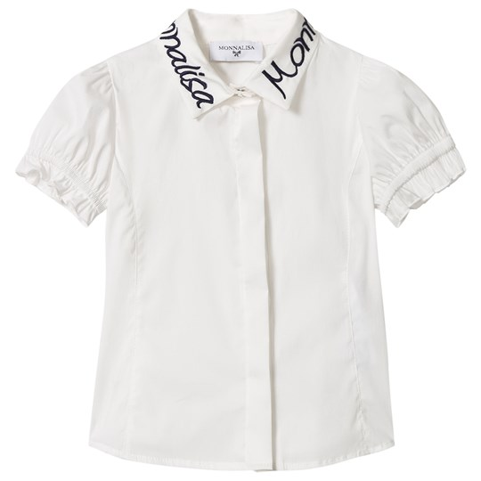 Monnalisa White Blouse with Branded Embroidery 0156