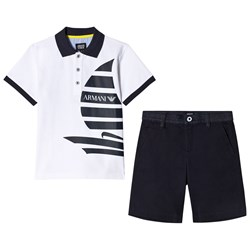 Emporio Armani White Boat Tee and Black Shorts Set