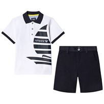 Armani Junior White Boat Tee and Black Shorts Set 1100