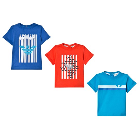 Emporio Armani Blue, Red and Navy Logo Print 3 Tee Set 1588