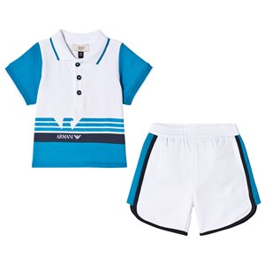 Image of Emporio Armani Blue and White Logo Tee and Shorts Set 12 months (2880705139)