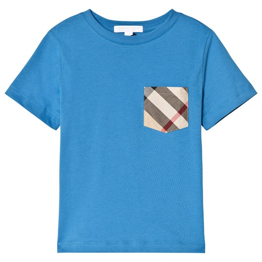 Burberry Cyan Blue Tee with Check Pocket CYAN BLUE