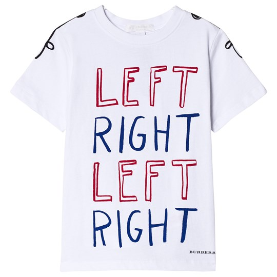 Burberry White Left Right Print Tee White