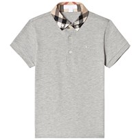 Burberry Pale Grey Polo with Classic Check Collar Pale Grey Melange