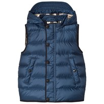Burberry Navy Mini Bradley Puffer Hooded Gilet Ink Blue