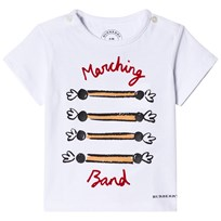 Burberry White Marching Band Print Tee White