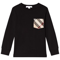 Burberry Black Long Sleeve Tee with Classic Check Pocket Black