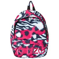 Kenzo Navy and Fuchsia Tiger Print and Logo Backpack 35