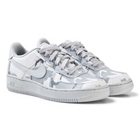 NIKE Camo Nike Air Force 1 LV8 Junior Trainers WHITE/PURE PLATINUM-WOLF GREY