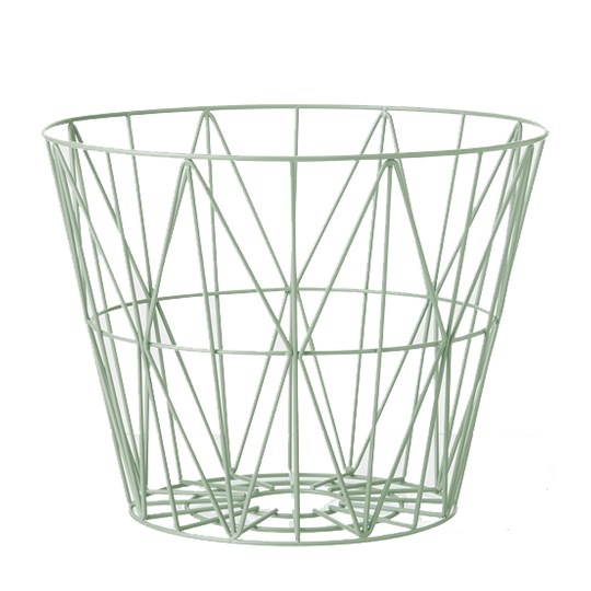 ferm LIVING Medium Wire Basket - Mint Mint