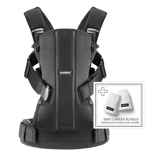 Babybjörn Baby Carrier WE Cotton and Teething Pad Black