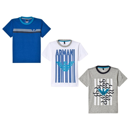 Emporio Armani White, Grey and Blue 3 Logo Tee Set 1100