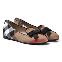 Burberry Beige Classic Check Shoes with Bow Details CLASSIC CHECK