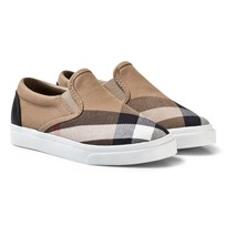 Burberry Beige and White Classic Check Slip On Linus Trainers CLASSIC/OPTIC WHITE