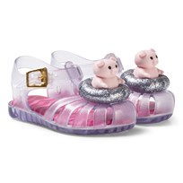 Mini Melissa Silver Glitter Mini Aranha Piggy Sandals 50490