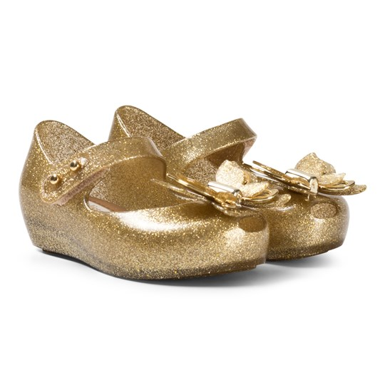 high quality newest collection detailed pictures Mini Melissa - Gold Glitter Butterfly Shoes - Babyshop.com