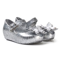 Mini Melissa Silver Glitter Butterfly Shoes 53236