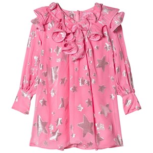 Image of Little Marc Jacobs Pink Star Print Silk Dress with Ruffle Collar 12 years (2882748957)