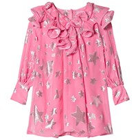 Little Marc Jacobs Pink Star Print Silk Dress with Ruffle Collar 468