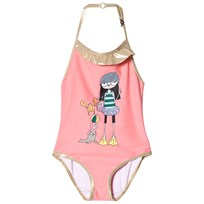 Little Marc Jacobs Pink Miss Marc and Sea Friends Print Halter Swimsuit 46P