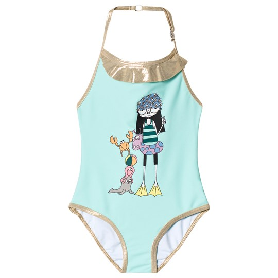 Little Marc Jacobs Green Miss Marc and Sea Friends Print Halter Swimsuit 79B