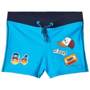 Image of Little Marc Jacobs Blue Retro Print Swim Trunks in Pouch 12 years (2882745323)