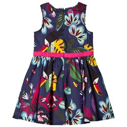 Catimini Navy Floral Print and Toucan Dress with Pom Pom Details