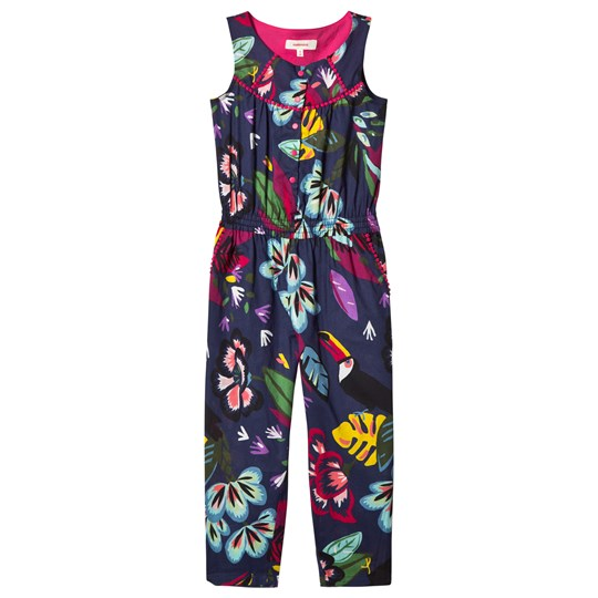 Catimini Navy Floral Print and Toucan Jumpsuit 88