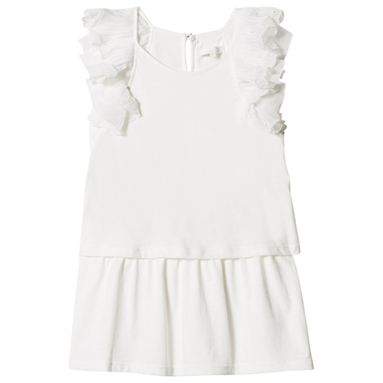 Chloé Off White Frill Shoulder Embroidered Dress 117