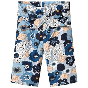 Image of Chloé Floral Print Poplin Waist Knot Flared Trousers 3 years (2884165631)