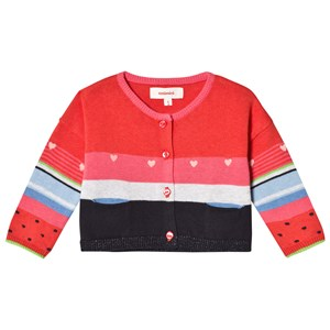 Image of Catimini Coral Stripe Cardigan with Watermelon Sleeves and Heart Embroidery 12 months (2884167175)