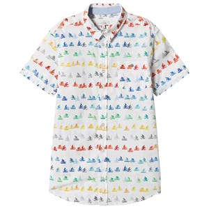 Image of Paul Smith Junior White Multi Bike Print Short Sleeve Shirt 12 years (2884170959)