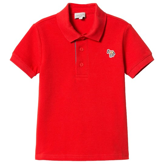 Paul Smith Junior Red Pique Polo with Zebra Branding and Stripe Placket 362