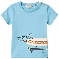 Paul Smith Junior Blue Sausage Dog Skateboard Front and Back Print Tee