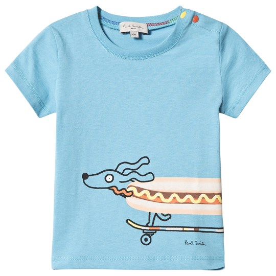 Paul Smith Junior Blue Sausage Dog Skateboard Front and Back Print Tee 40