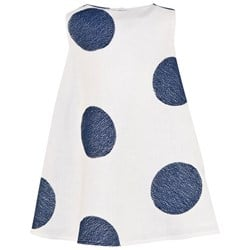 Il Gufo White Linen and Navy Spot Dress