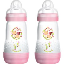 MAM Nappflaska, Anti Colic, 260 ml, 2-pack, Rosa Purple