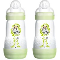 MAM Nappflaska, Anti Colic, 260 ml, 2-pack, Grön Grey