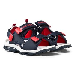 Diesel Navy and Red Branded Velcro Sandals