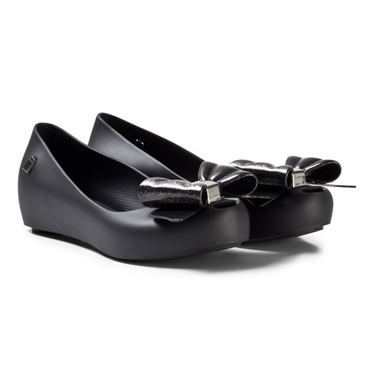 Mini Melissa Black Ultragirl Shoes with Glitter Bow 01003