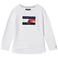 Tommy Hilfiger White Sequin Branded Flag Long Sleeve Tee 123