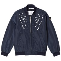 Le Chic Navy Flower Embroidered Bomber 190