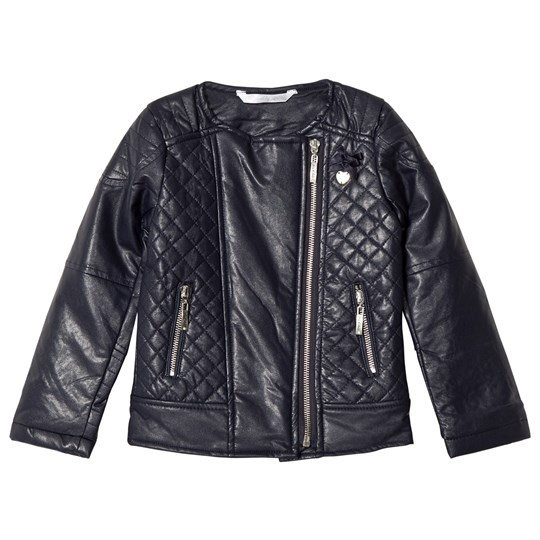 Le Chic Navy Pleather Quilted Biker Jacket 190