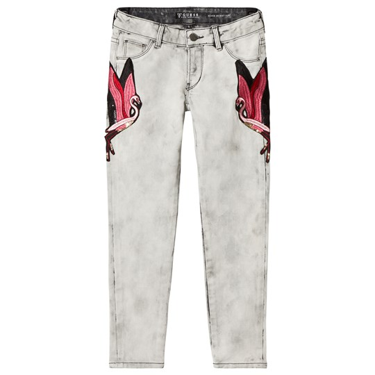 Guess Acid Wash Embroidered Flamingo Skinny Jeans ACCD