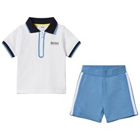 BOSS White Branded Zip Polo with Blue Shorts Set 10B